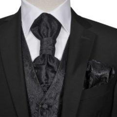 VidaXL Gilet set mannen paisleymotief bruiloft maat 52 zwart