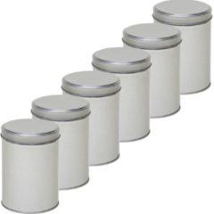 6x Zilver rond opbergblik/bewaarblik 13 cm - Zilveren koffiepads/koffiecups voorraadblikken - Voorraadbussen