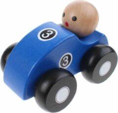 Jouéco Joueco Houten Raceauto Blauw 10 Cm