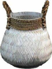 Witte Van der Leeden Basket Bamboo White - (D)34 x (H)24 cm