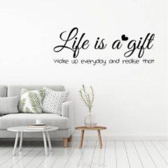 Licht-grijze Merkloos / Sans marque Muursticker Life Is A Gift - Lichtgrijs - 80 x 29 cm - slaapkamer engelse teksten woonkamer - Muursticker4Sale