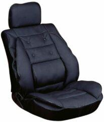 Zilveren Carpoint stoelkussen met lendesteun 95 x 50 cm zwart