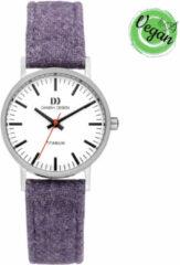 Danish Design IV43Q199 Horloge Rhine Vegan titanium-linnen microfiber zilverkleurig-lavendelblauw-wit 30 mm