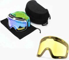 Zwarte Improducts Skibril met magnetische lens spiegel Magic Bleu frame wit Y type 1 Cat. 1 tot 4 - ☀/☁
