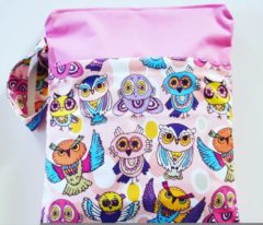 Merkloos / Sans marque WBD40 Wetbag uil groot/roze