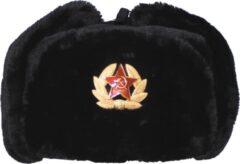 MFH Russische bontmuts zwart met embleem - MAAT S