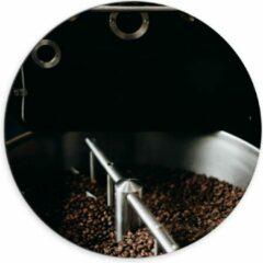 Grijze KuijsFotoprint Dibond Wandcirkel - Koffiebonenmachine - 70x70cm Foto op Aluminium Wandcirkel (met ophangsysteem)