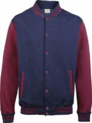 Marineblauwe AWDis Varsity jacket, Oxford Navy/Burgundy, Maat XS