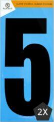 Ramboo Cijfer sticker 5 | Zwart | 2 stuks | Kliko Stickers | Cijfer Stickers | Nummer Stickers | Plakcijfers | 17,5 CM Hoog