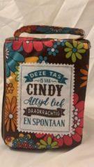 History&heraldy Shopper bag dames met leuke tekst DEZE TAS IS VAN CINDY ALTIJD LIEF DAADKRACHTIG EN SPONTAAN winkeltasje Wordt geleverd in cellofaan met linten