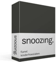 Antraciet-grijze Moment By Moment Snoozing flanel kinder hoeslaken Antraciet Junior (70x140/150 cm) (175 antraciet)