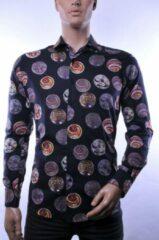 Donkerblauwe Corrino lange mouw overhemd blouse heren / volwassenen