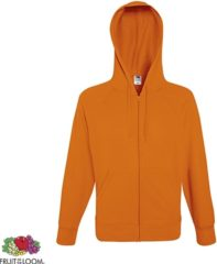 Oranje Fruit of the Loom hoodie vest met rits lichtgewicht Maat M Kleur Orange