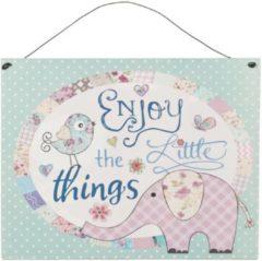 Blauwe Clayre & Eef Ijzeren tekstbord - Enjoy the little things