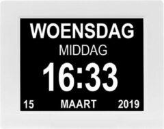 YONO Digitale Kalenderklok Groot – Dementieklok Seniorenklok Alzheimer Klok – Wandklok met Alarm Tijd en Datum Weergave – 8 inch – Wit