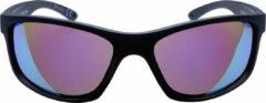 ICON Sport Zonnebril FRONTIER - Zwart montuur met rubber finish - Blauw spiegelende glazen - GEPOLARISEERD