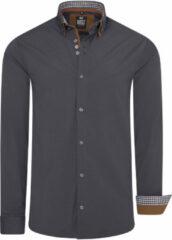 Antraciet-grijze Merkloos / Sans marque Heren overhemd - Italiaans - R80 - Aurina