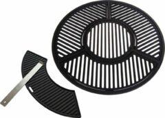 Zwarte Jx Gietijzeren grill combinatie set voor 57 CM Kogel BBQ o.a. geschikt voor Weber 57cm