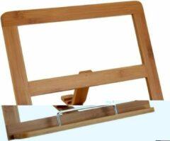 Transparante Bamboe houten kookboekhouder/tablethouder 32 cm - Handige keuken accessoires