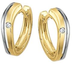 Zilveren The Jewelry Collection klap-oorringen Zirkonia Gestift Poli/mat - Geelgoud (14 Krt.)