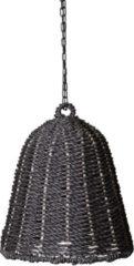 PTMD Lars zwarte hangende lampenkap van geweven zeegras maat in cm: 35 x 35 x 50 - Zwart
