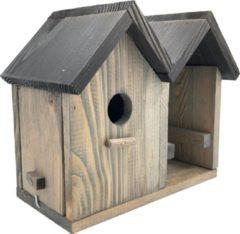 Grijze Garden Spirit - Vogelvoederhuisje - Pindakaashuisje - Vogelhuisje met Pindakaaspothouder