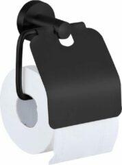 VDN Stainless Toiletrolhouder Zwart - WC Rolhouder - Toiletrolhouder met klep - Toiletpapier houder - RVS