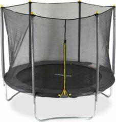 Antraciet-grijze Relaxdays 2-delige trampoline met veiligheidsnet - 305 cm - tot 150 kg - grijs