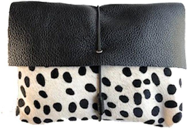 Afbeelding van Witte Mozz Bags MOZZ Luieretui Leer Zwart Cheetah