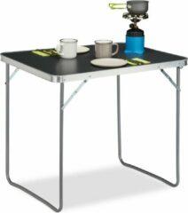 Zilveren Relaxdays campingtafel inklapbaar - aluminium klaptafel - vouwtafel camping - koffermodel