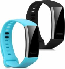 Kwmobile 2x horlogeband voor Huawei Band 2 / Band 2 Pro - siliconen band voor fitnesstracker - lichtblauw / zwart