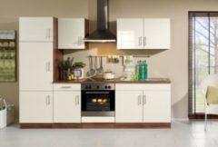 HELD Möbel Küchenzeile Nevada 270 cm Hochglanz creme - ohne E-Geräte