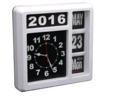 Witte Velleman Flipover Wandklok Met Kalender - 31 X 31 Cm - Engels