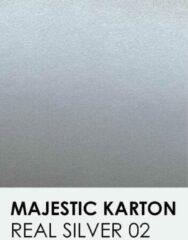 Zilveren Karton met glinster notrakkarton Majestic marble real silver 02 30,5x30,5 cm 250 gr.