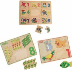 Naturelkleurige Playwood houten legpuzzel tellen u krijgt 3 assorti geleverd