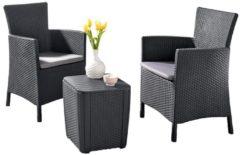 BEST Balkon-Set Napoli, 3-teilig, Rattan-Optik, komplett mit Sitzkissen