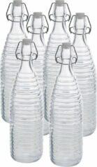 Zeller 6x Glazen flessen transparant strepen met beugeldop 1000 ml - Keukenbenodigdheden - Woondecoratie - Tafel dekken - Koude dranken serveren/bewaren - Olie/azijn flessen - Decoratie flessen