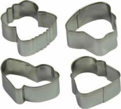 Zilveren Alpina Uitsteekvormpjes koekjes 14 stuks - 1 x tas - 1 x jurk - 1 x schoen - 1 x hoed