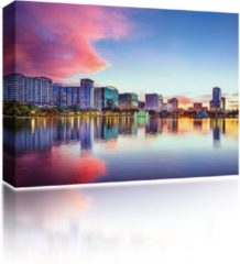 Blauwe Sound Art - Canvas + Bluetooth Speaker City Reflection At Sunset (23 x 28cm)
