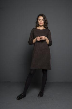 Afbeelding van Bruine BAR Amsterdam BY-BAR Women amy dress tweed - brown - XS. Alle maten: xs|s|l