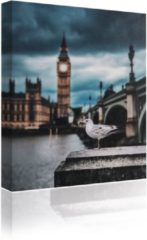 Blauwe Sound Art - Canvas + Bluetooth Speaker Seagull And Big Ben (23 x 28cm)
