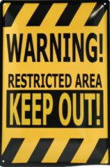 Metal sign Wandbord - Warning Restricted Area Keep Out -20x30cm
