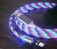 Merkloos / Sans marque Lichtgevende oplaadkabel - Oplaadkabel lichtgevend - iPhone oplader - iPad oplader - Flowing light USB cable - Lightning kabel - 1 meter - Multicolor
