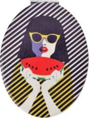Handspiegel | 9*7 cm | Meerkleurig | Kunstleer | Ovaal | Vrouw | Melady | MLSBS0023-10