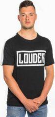 Loud and Clear LOUDER T Shirt Heren Zwart Wit - Ronde Hals - Korte Mouw - Met Print - Met Opdruk - Maat S