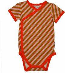 Oranje Baba Babywear Baba - Wrapbody Korte Mouwen - Diagonal Pink - 9m