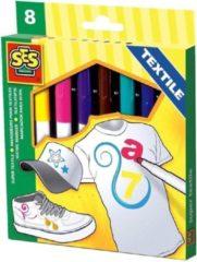 8x Gekleurde ses textiel stiften - Stof viltstiften - T-shirts kleuren/tekenen - Hobbymateriaal/knutselmateriaal