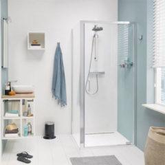 Zilveren Get Wet by Sealskin COMPACT Draaideur met zijwand 800x800mm zilver hoogglans 6mm helder veiligheidsglas CR18080D330100