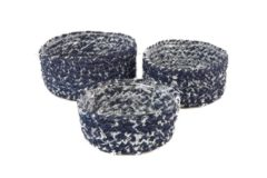 Blauwe Decoratieve Set a 3 mandjes, jeans