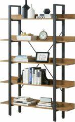 En.casa Staand rek met planken boekenkast 171x120x28 zwart en hout